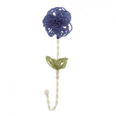 Wall Hook Beaded Flower Blue