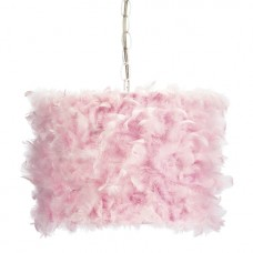 Pink Feather Drum Pendant Light