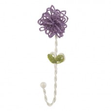 Wall Hook Beaded Flower Lavender