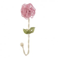 Wall Hook Beaded Flower Pink