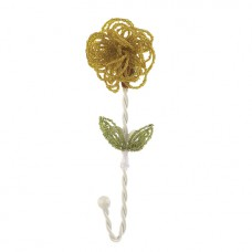 Wall Hook Beaded Flower Yellow
