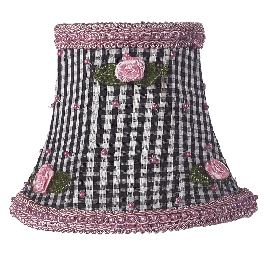 Shade Chandelier Black Check with Pink Rosebud