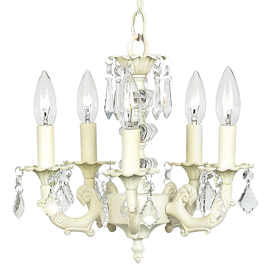 Chandelier Stacked Ball 5 Light Ivory