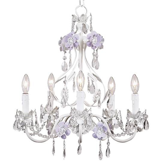 Chandelier Flower Garden 5 Light Lavender