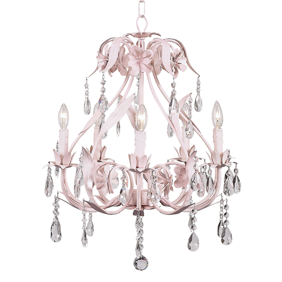 Chandelier Ballroom 5 Light Pink