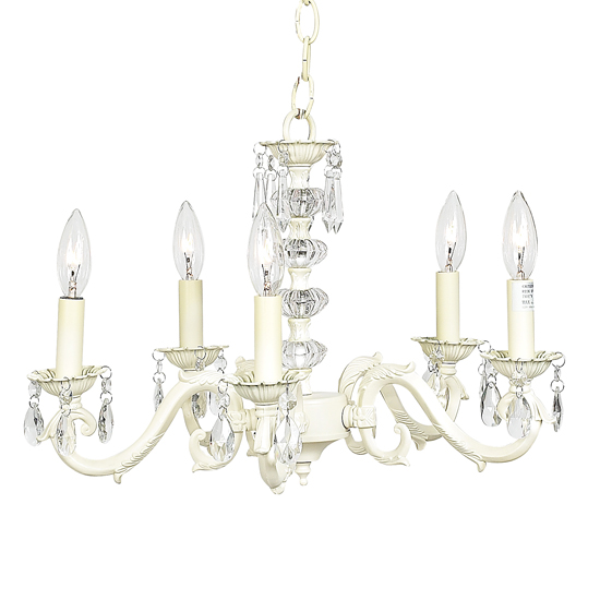 Chandelier Turret Five Light Ivory