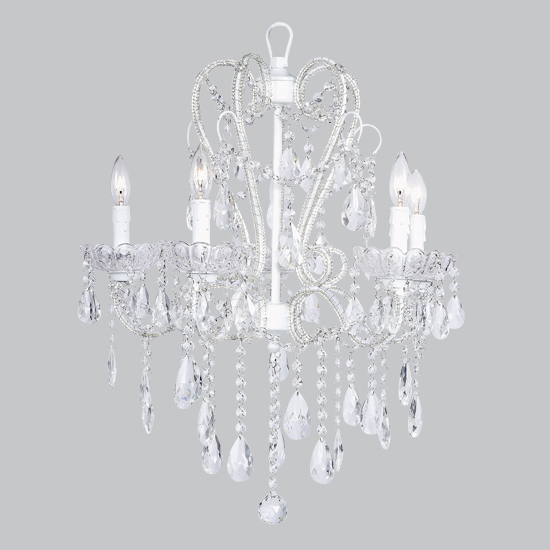 Chandelier Whimsical 5 Light  White