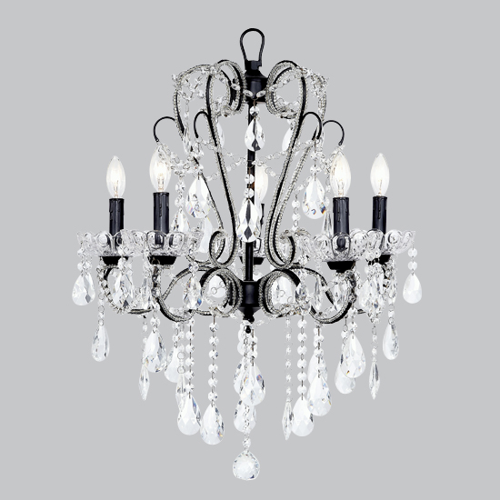 Chandelier Whimsical 5 Light Black