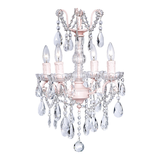 Chandelier Glass Center 4 Light Pink
