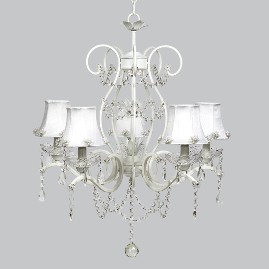 Chandelier Grace 5 Light White Bright Idea