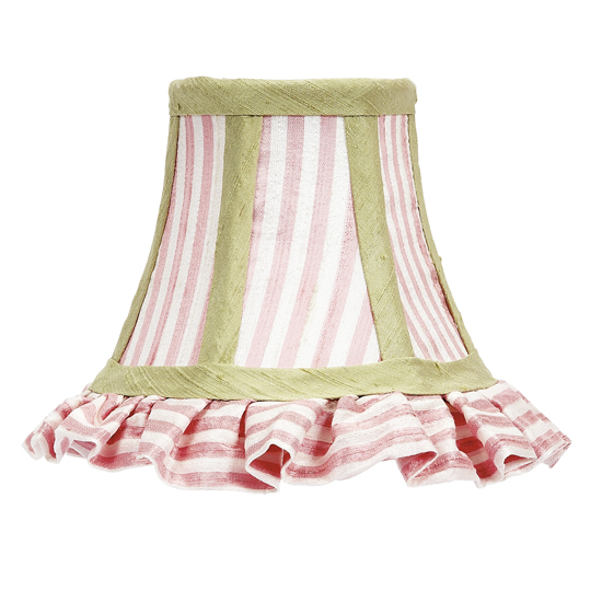 Shade Chandelier Pink/White Stripe with Green Trim
