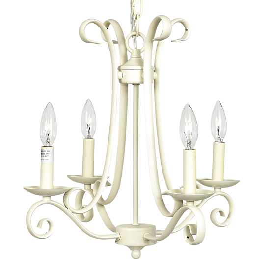 Chandelier Harp 4 Light Ivory