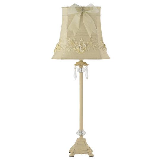 Lamp Base Large Crystal Dangle Ivory Bright Idea