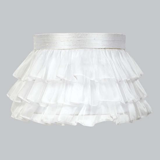 Shade Large Ruffled Sheer Skirt  White