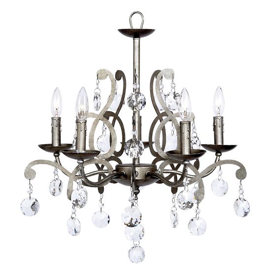 Chandelier Elegance 5 Light Pewter