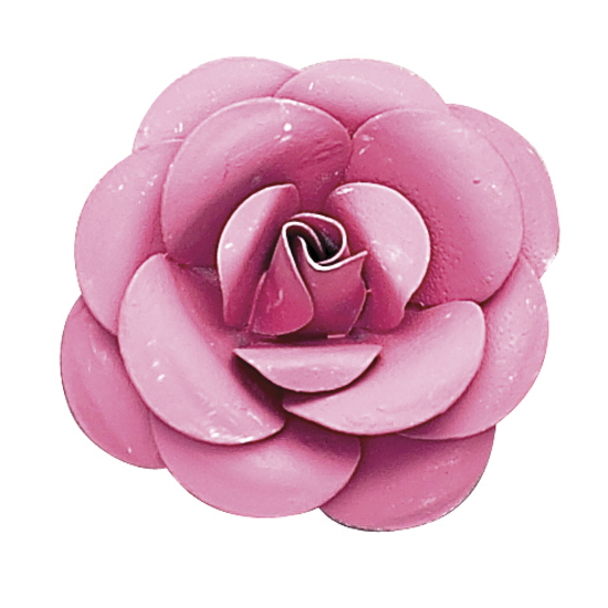 Bright Pink Small Metal Rose Magnet
