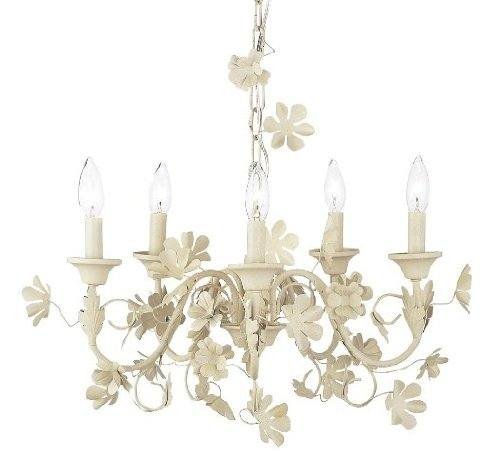 Chandelier Leaf and Flower 5 Light Ivory