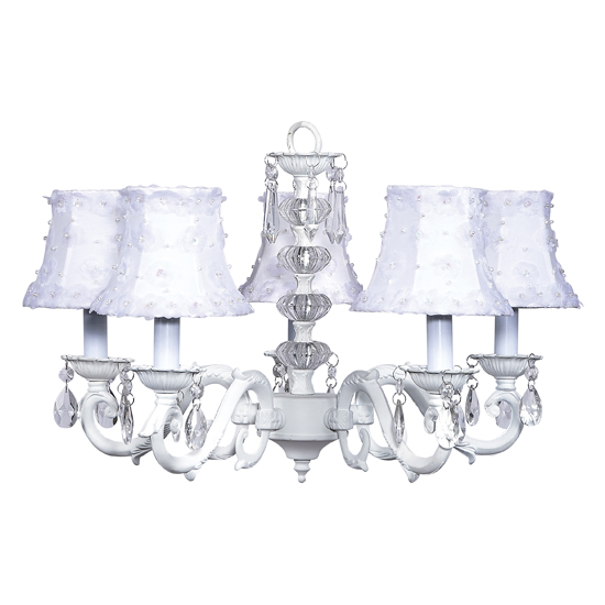 Chandelier Turret 5 Light White Bright Idea