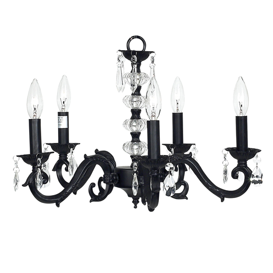 Chandelier Turret 5 Light  Black