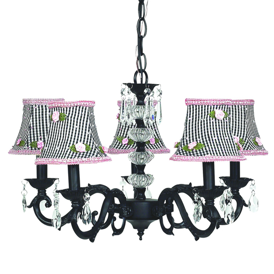 Chandelier Turret 5 Light Black Bright Idea