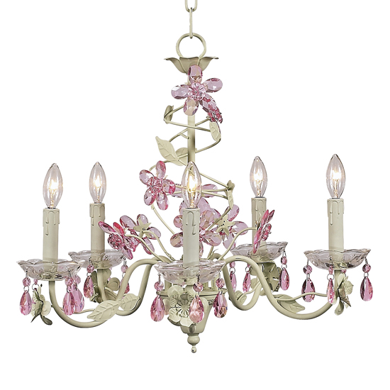 Chandelier Crystal Flower 5 Light Pink and Green