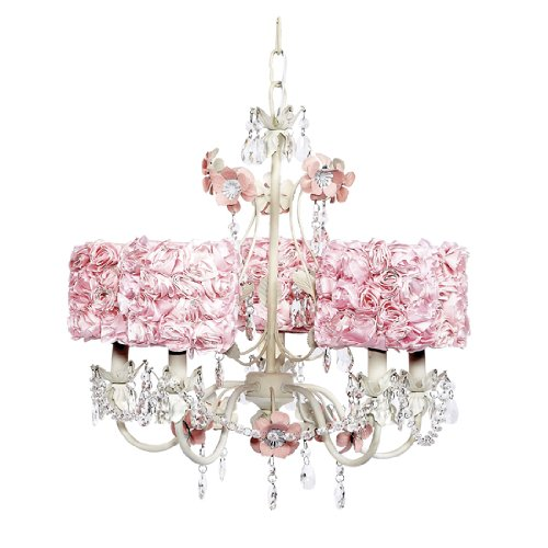 Chandelier Flower Garden 5 Light White and Pink Bright idea