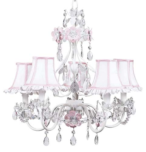 Chandelier Flower Garden 5 Light Pink and White Bright idea