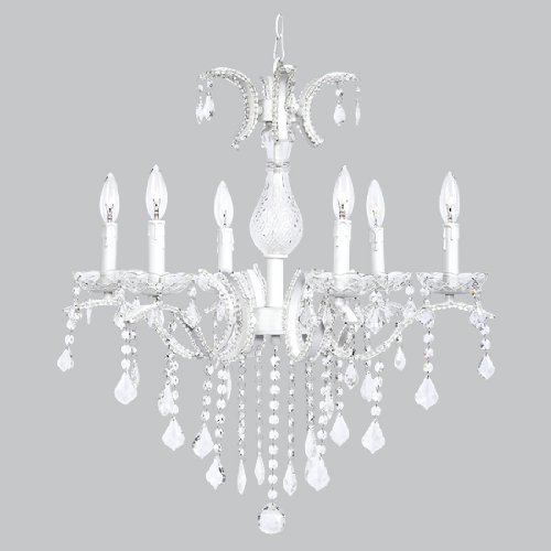 Chandelier Glitz Beaded  6 Light  White
