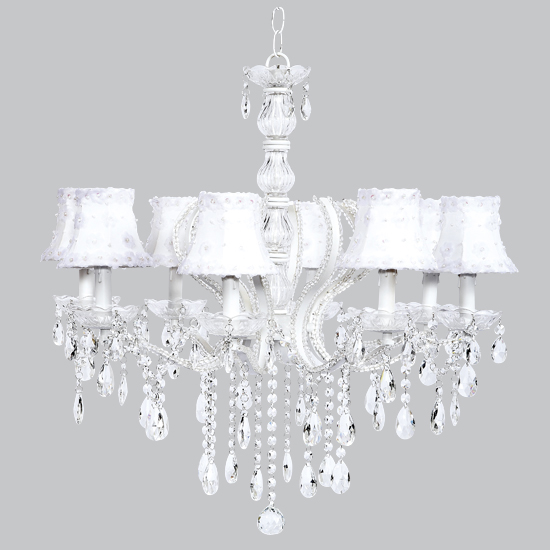 Chandelier Pageant 8 Light  White Bright Idea
