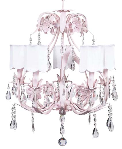 Chandelier Ballroom 5 Light Pink Bright Idea