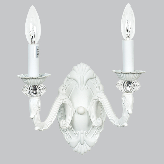 Wall Sconce 2 arm Turret White