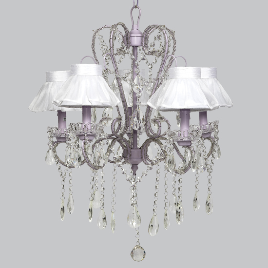 Chandelier Whimsical 5 light Lavender Bright Idea
