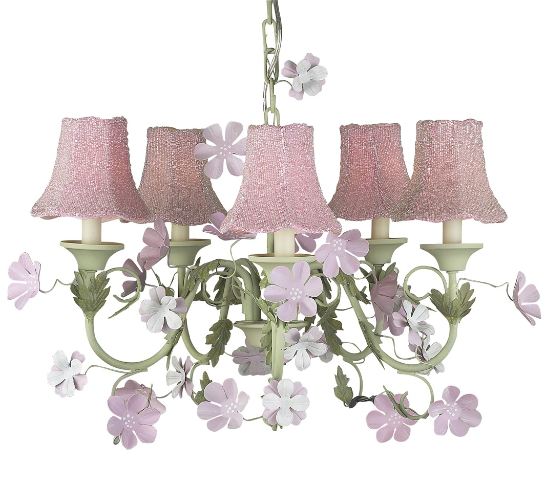 Chandelier Leaf and Flower 5 Light  Pink and Green Bright Idea