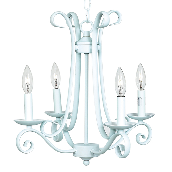 Chandelier Harp 4 Light Baby Blue