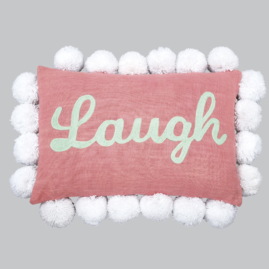 "Pillow Pom Pom ""Laugh"" Pink"