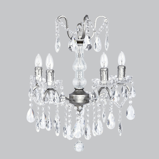 Chandelier Glass Center 4 Light Pewter