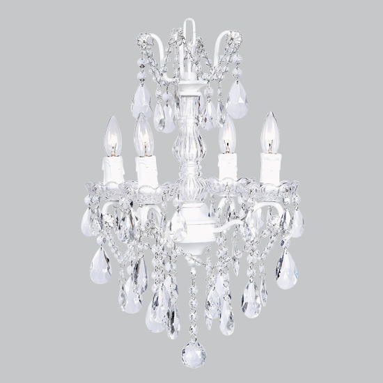 Chandelier Glass Center 4 Light White