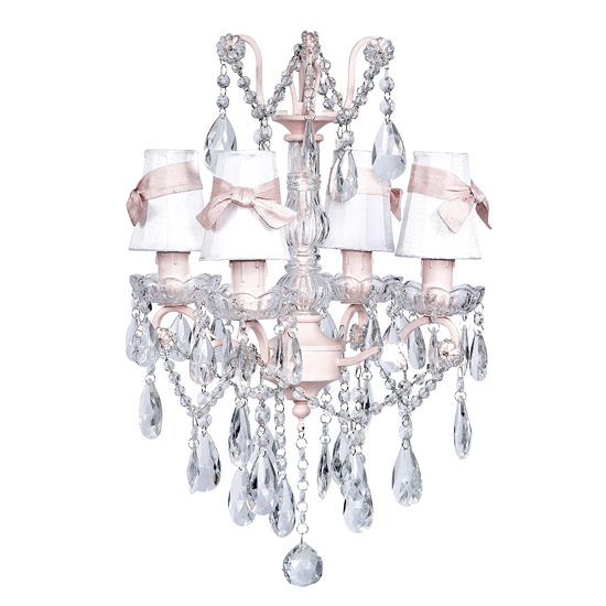 Chandelier Glass Center 4 Light Pink  Bright Idea